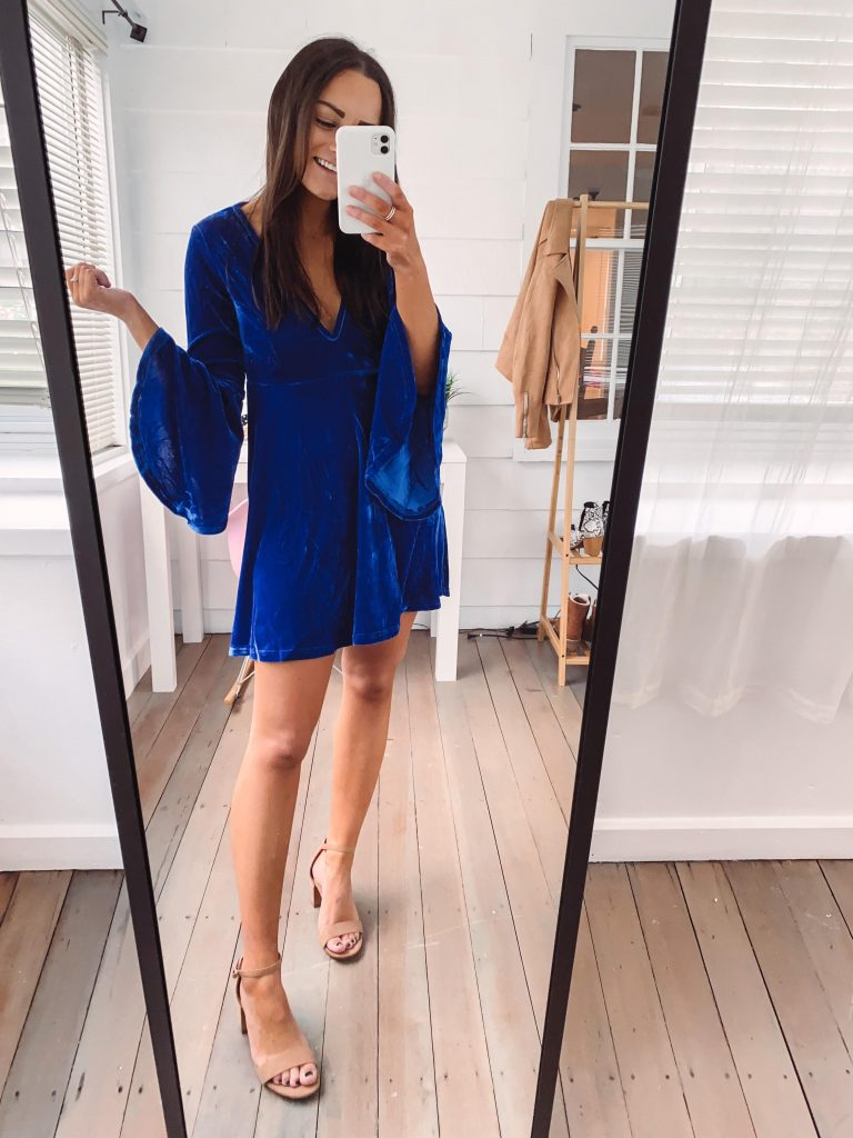 blue amazon wedding guest outfit for winter