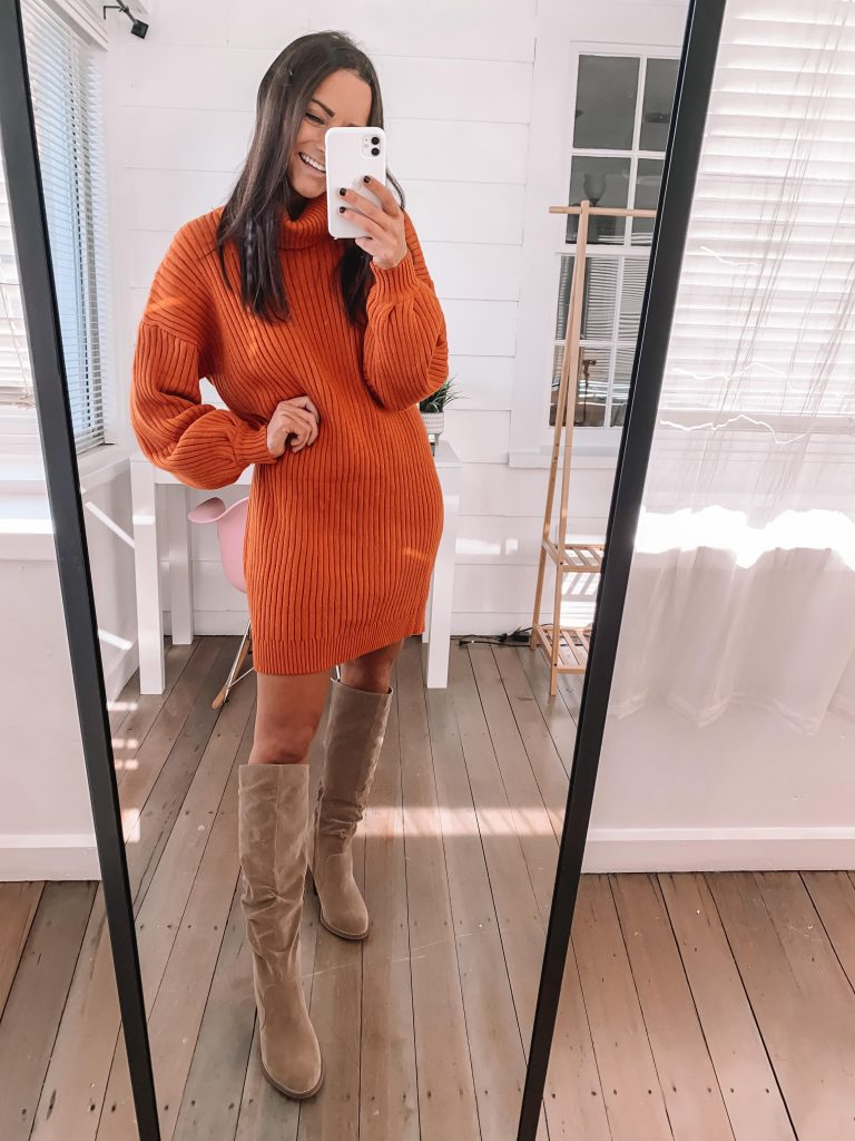 Cute thanksgiving outfits amazon sweater turtleneck dress