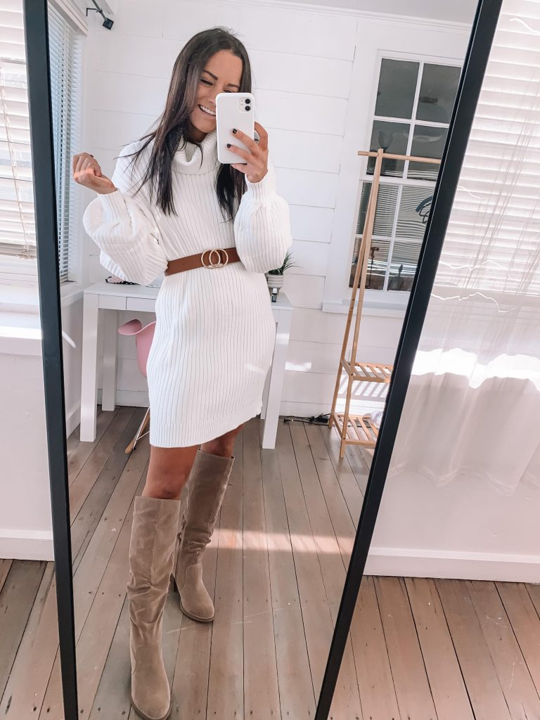 Cute thanksgiving outfits amazon white sweater dress with belt and over the knee boots