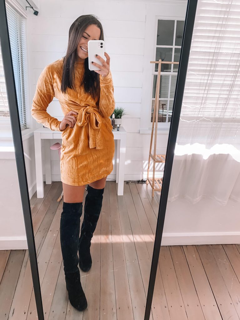 amazon velvet dress thanksgiving outfit ideas