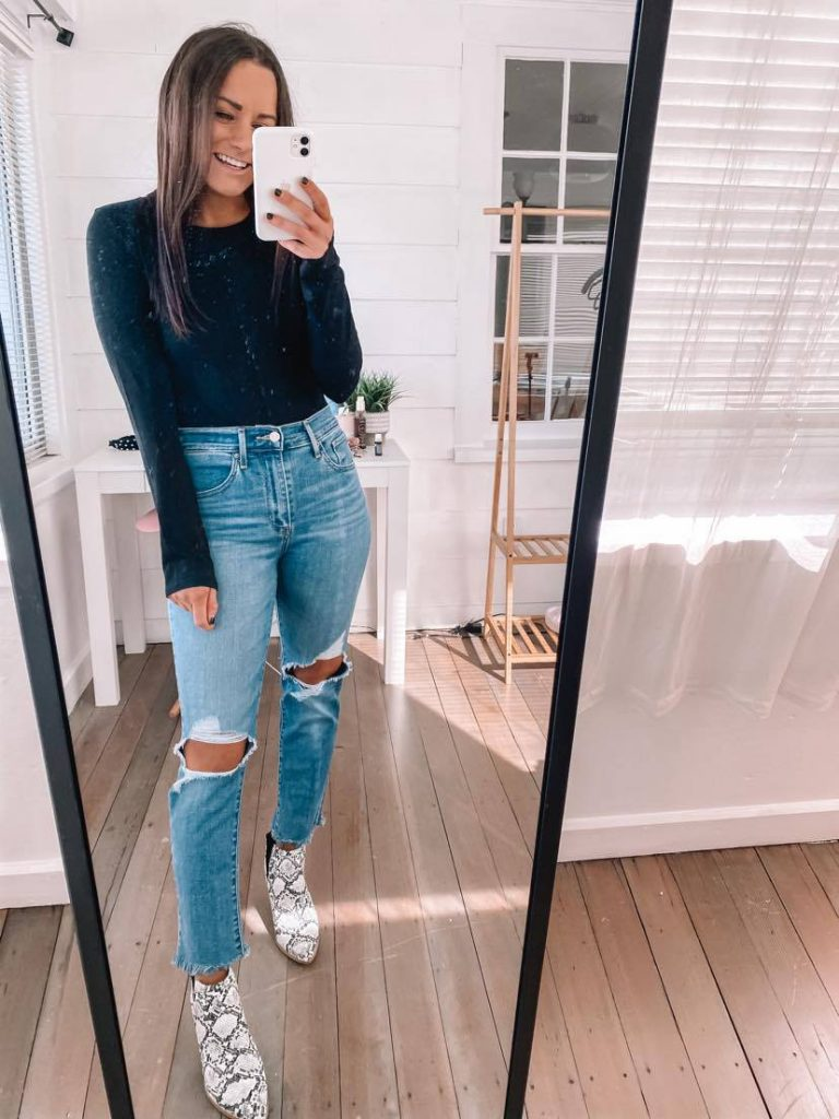 Amazon fall date night outfit with Levi jeans and bodysuit