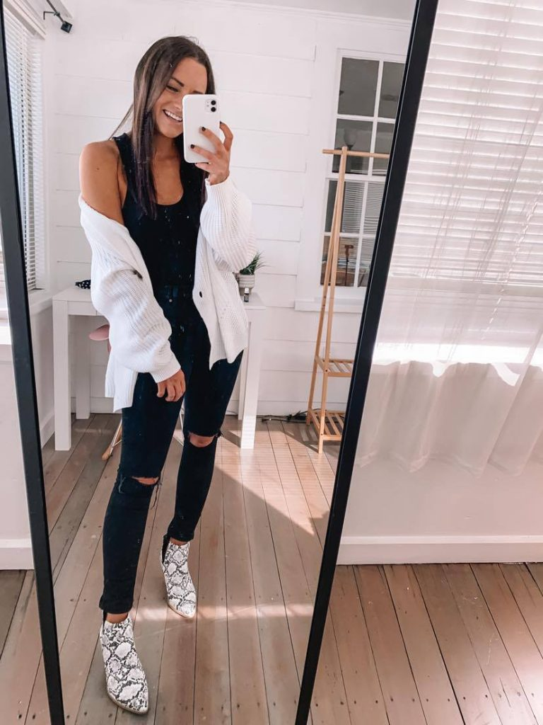 Amazon fall date night outfit with black denim bodysuit and cardigan