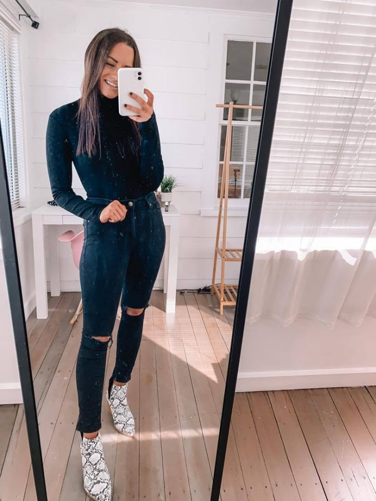 Amazon fall date night outfit with long sleeve bodysuit and snakeskin booties