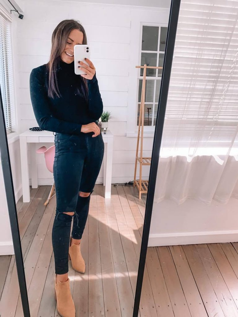 Amazon fall date night outfit with tan ankle boots and ribbed Amazon bodysuit