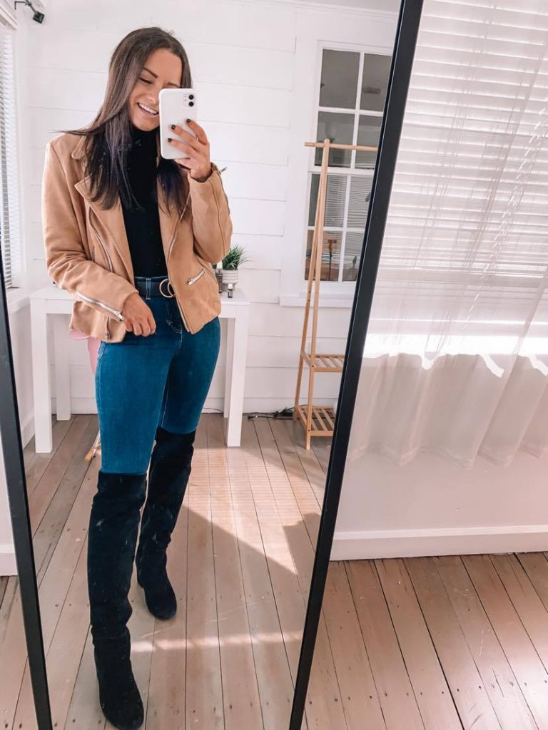 amazon date outfits with bodysuit and suede Amazon fall jacket