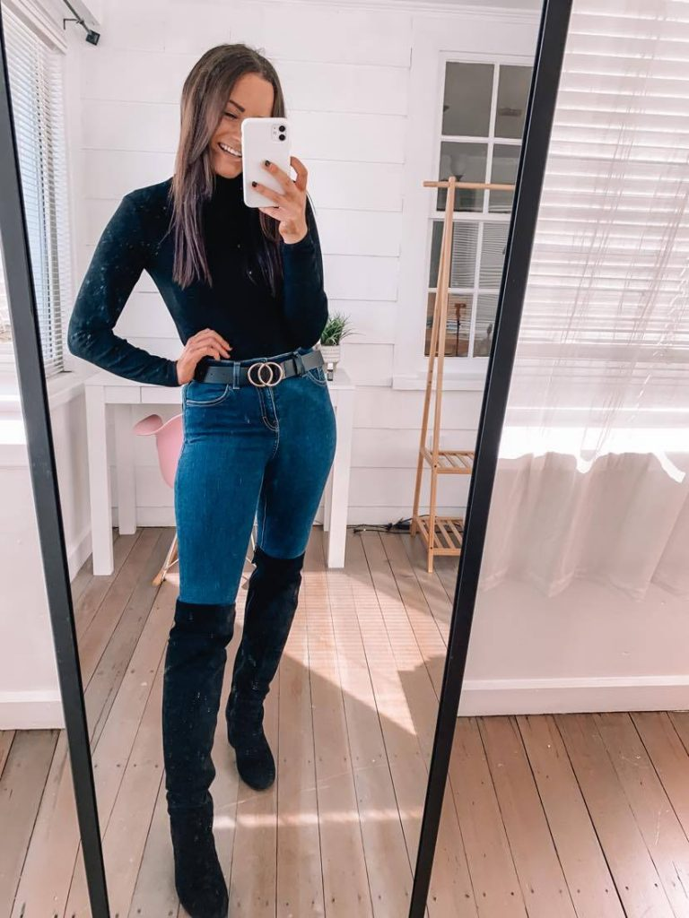Amazon fall date night outfit with jeans and leather jacket