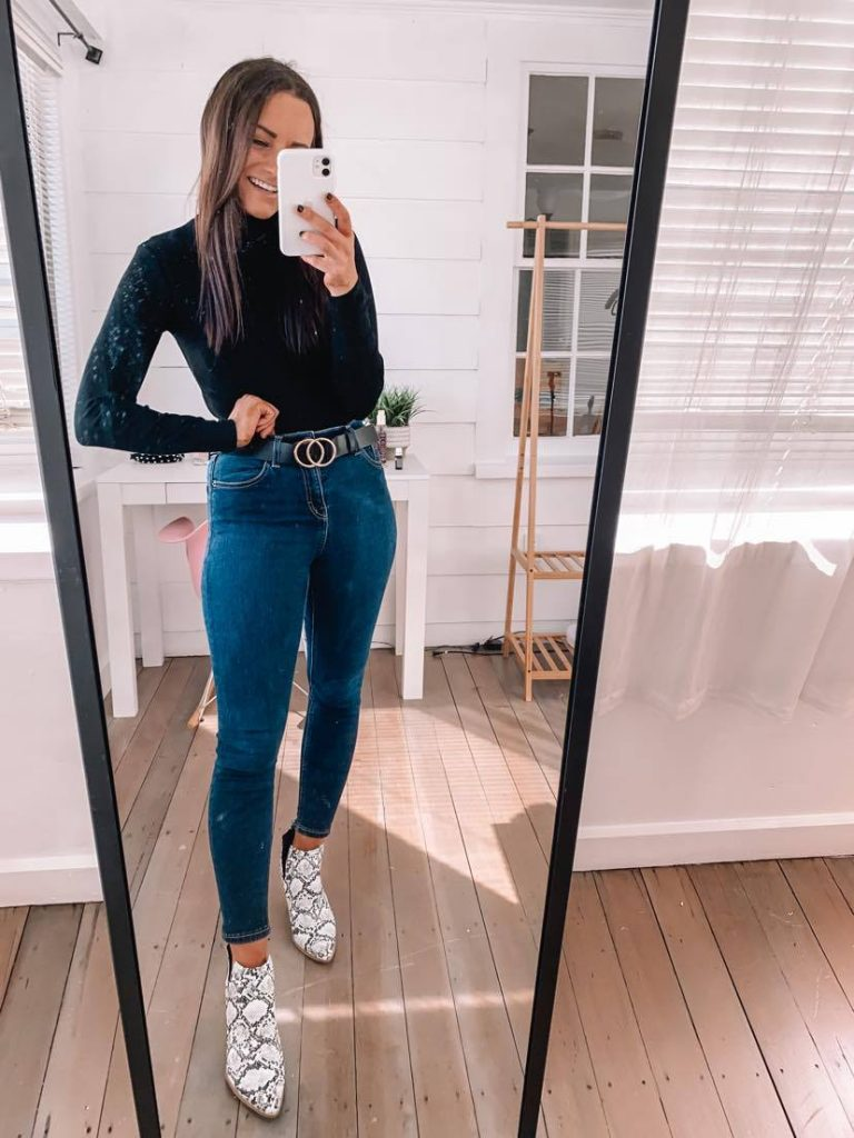 amazon fall date outfit with snakeskin booties and bodysuit