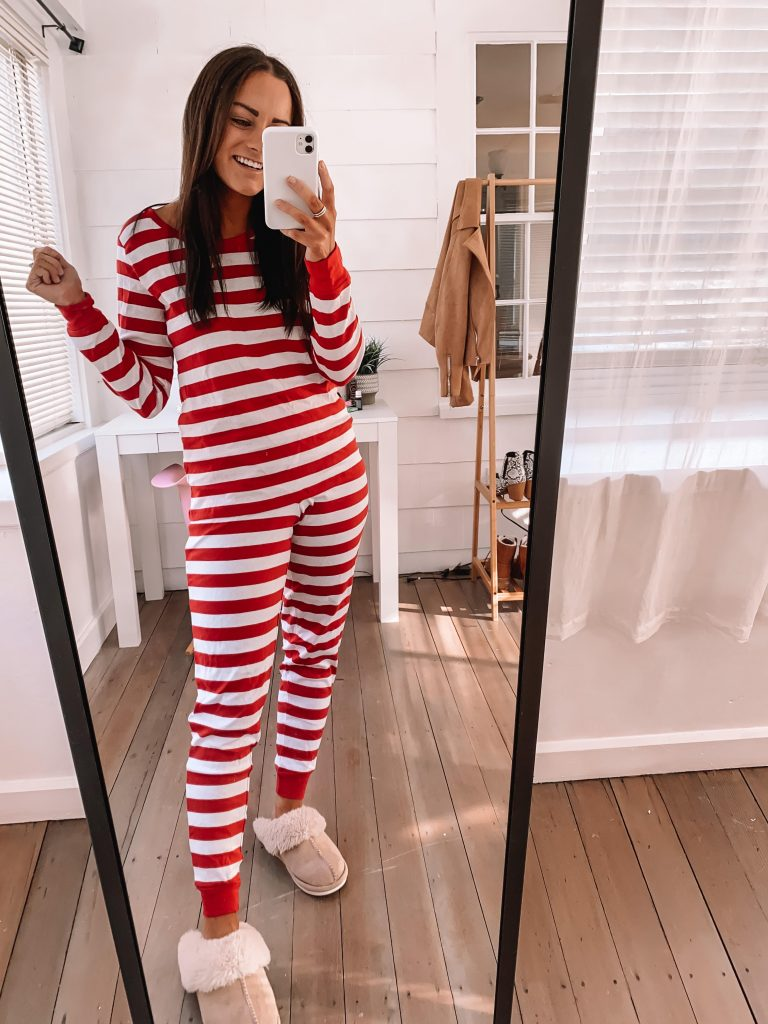 amazon Christmas pajamas white and red stripped