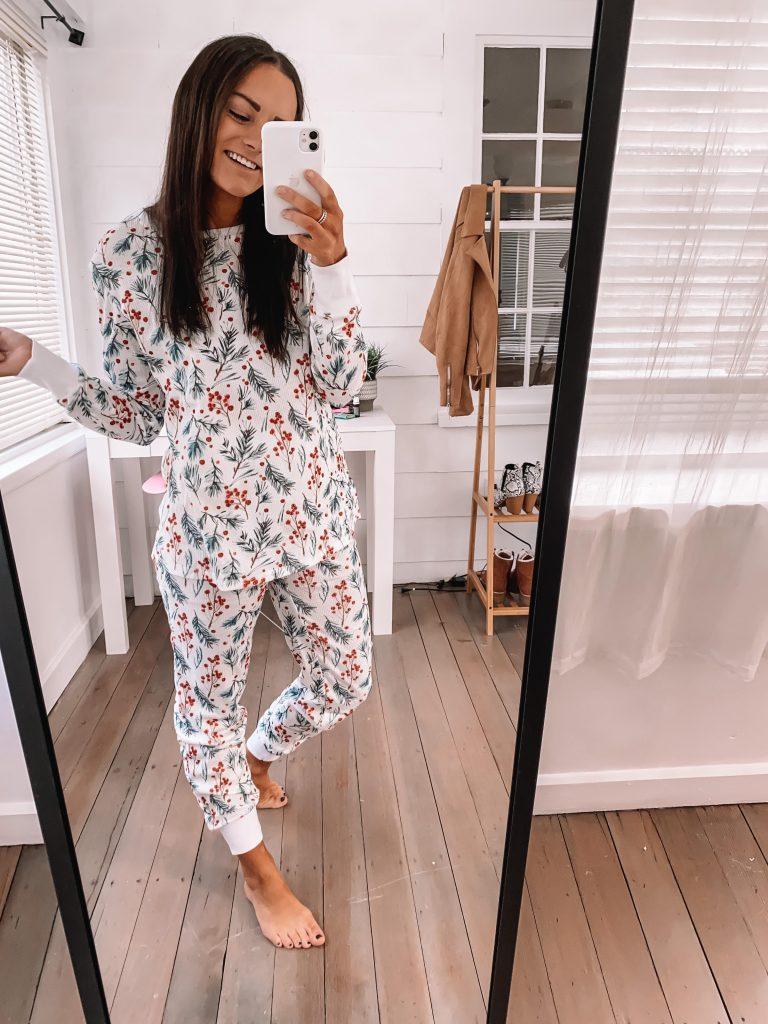 amazon Christmas pajamas for her holly print
