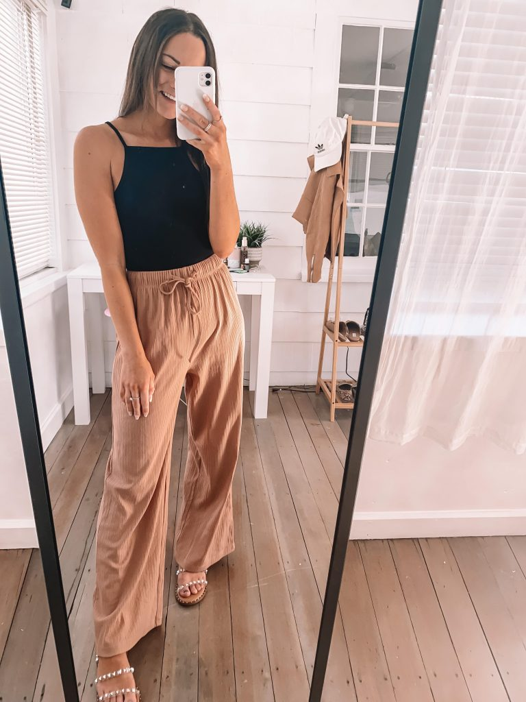 amazon comfy pants and black bodysuit outfit